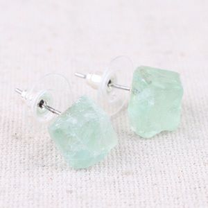 Raw Natural Crystal  Point Stud Earrings